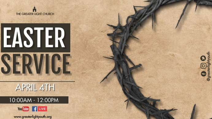 Easter Church Service Digital na Display (16:9) template