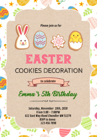 Easter cookies birthday Invitation