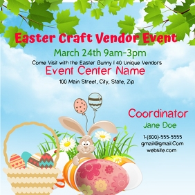 Easter Craft Vendor Event Video Square (1:1) template
