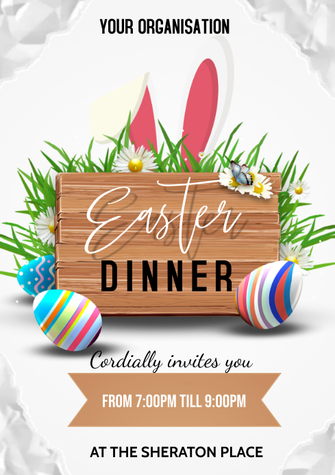 easter dinner flyer A3 template