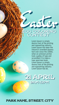 Easter egg coloring competition Instagram Story template