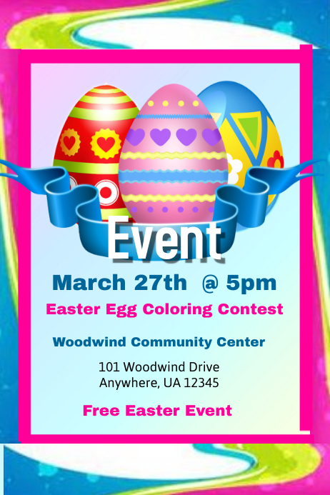 Easter Egg Coloring Contest Flyer Template | PosterMyWall