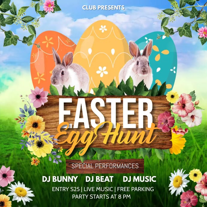 Easter egg hunt, Easter, Easter party Instagram 帖子 template