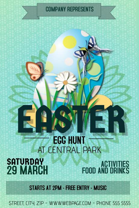 easter egg hunt celebration flyer template
