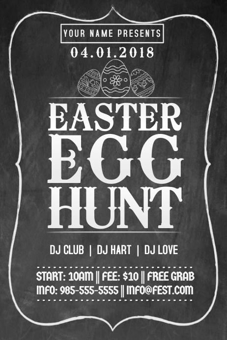 Easter Egg Hunt Chalkboard Sign Spring Retail Event Party