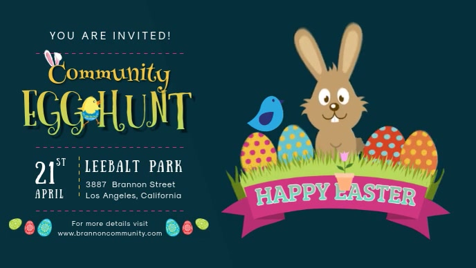 Easter Egg Hunt Facebook Banner Video template