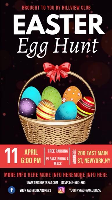 Easter egg hunt instagram story, easter template