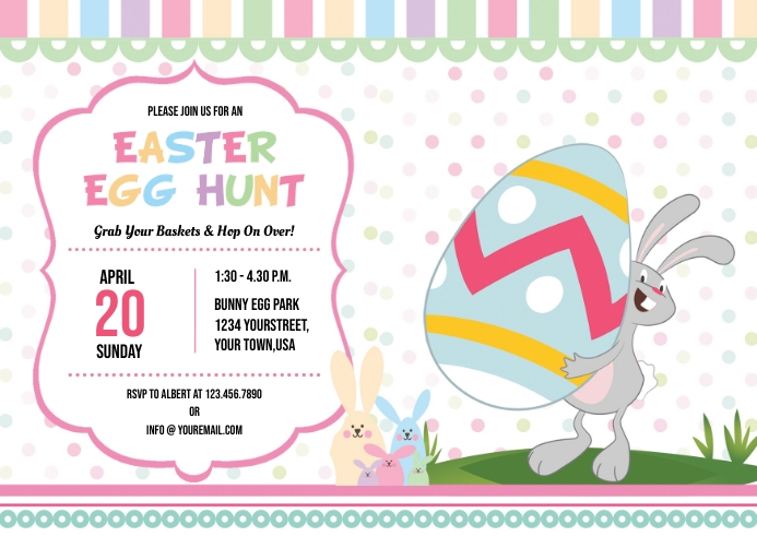 Easter Egg Hunt Party Flyer A6 template