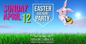 Easter Egg Hunt Party Flyer Template Facebook Shared Image