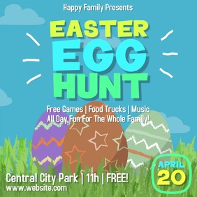 Easter Egg Hunt Square Video Flyer 方形(1:1) template