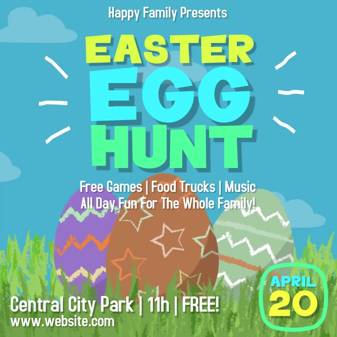 Easter Egg Hunt Square Video Flyer Vierkant (1:1) template