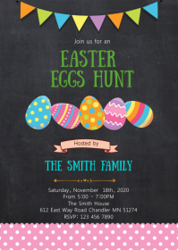 Easter eggs hunt party invitation A6 template