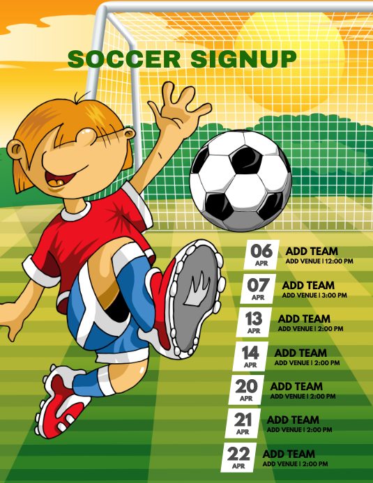Soccer signup template postermywall negle Images
