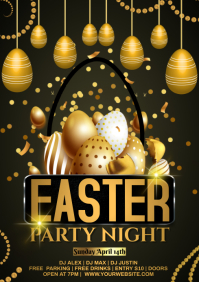 easter golden flyer A4 template