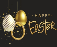 Easter Greeting Background Rettangolo medio template