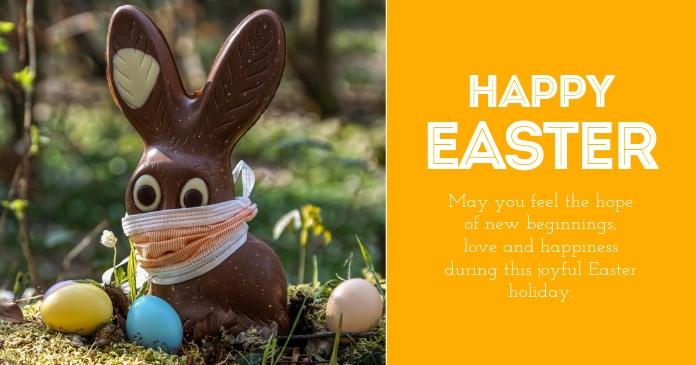 Easter greeting card Corona Covid19 Bunny Immagine condivisa di Facebook template