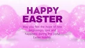 easter greeting Video Card Glitter eggs Rosa