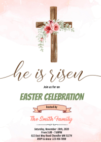 Easter he is risen invitation A6 template
