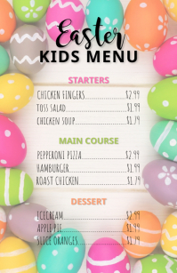 Easter Kids Menu Flyer Meia página larga template