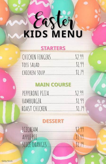 Easter Kids Menu Flyer Szeroki pół strony template