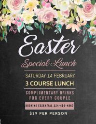 Easter lunch menu, brunch menu Flyer (US Letter) template