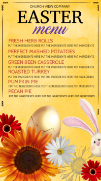 easter menu digital display, dinner menu template