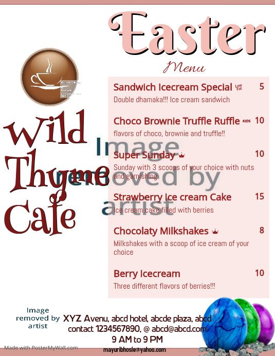 easter menu template postermywall