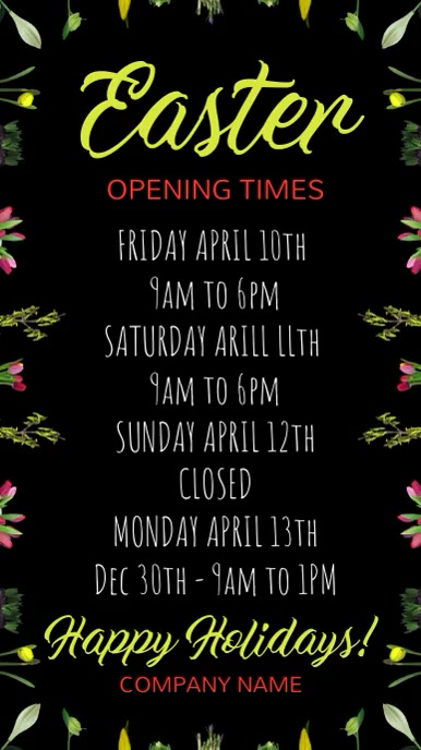 Easter Open times Digital Template