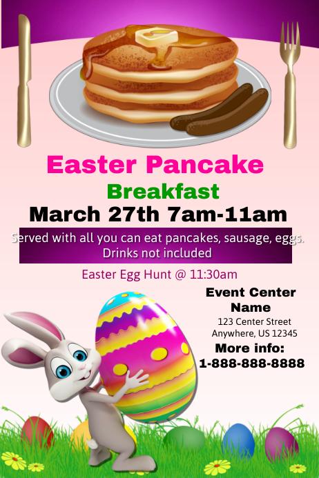 Easter pancake Breakfast Template Poster