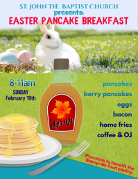 Easter pancake breakfast fundraiser flyer