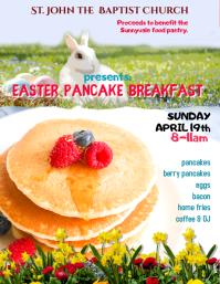 Easter pancake breakfast fundraiser flyer