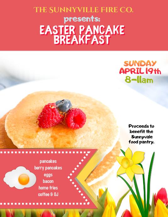 Easter pancake breakfast fundraiser flyer template