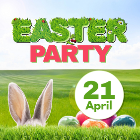 Easter Party Advert Bunny Eggs Lawn Promo Square