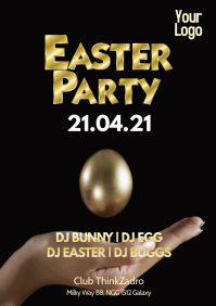 Easter Party Celebration Dj Club Gold Egg Ad A4 template