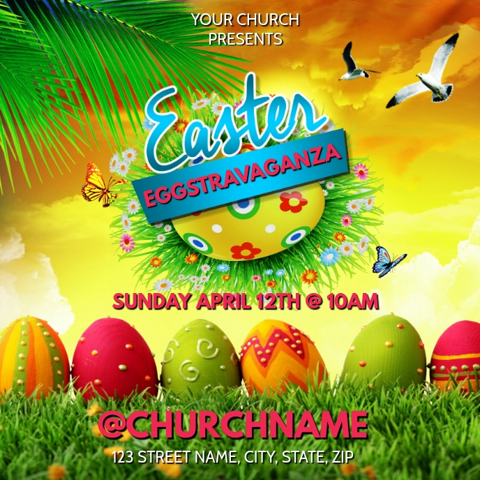 EASTER PARTY CHURCH FLYER Cover ng Album template