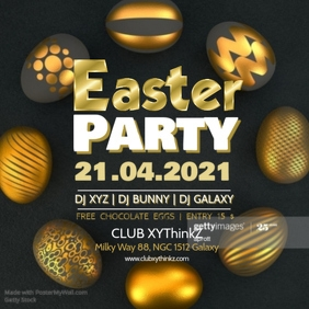 Easter Party Promo Advert Golden Glamour Square Events Club
