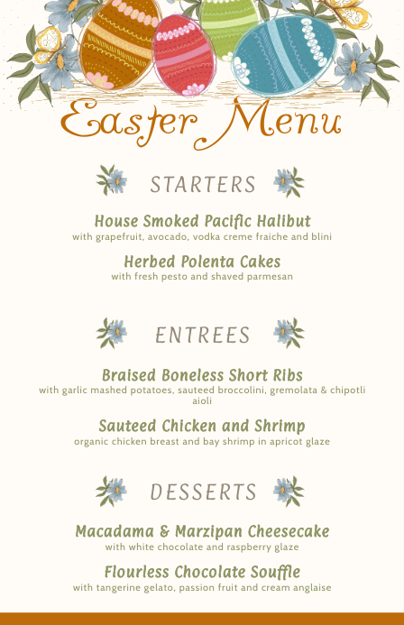 Easter Restaurant Cream Menu