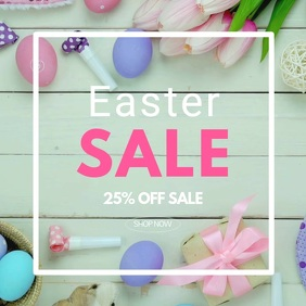 Easter Sale advert square frame wood