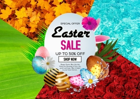 Easter sale Postcard template