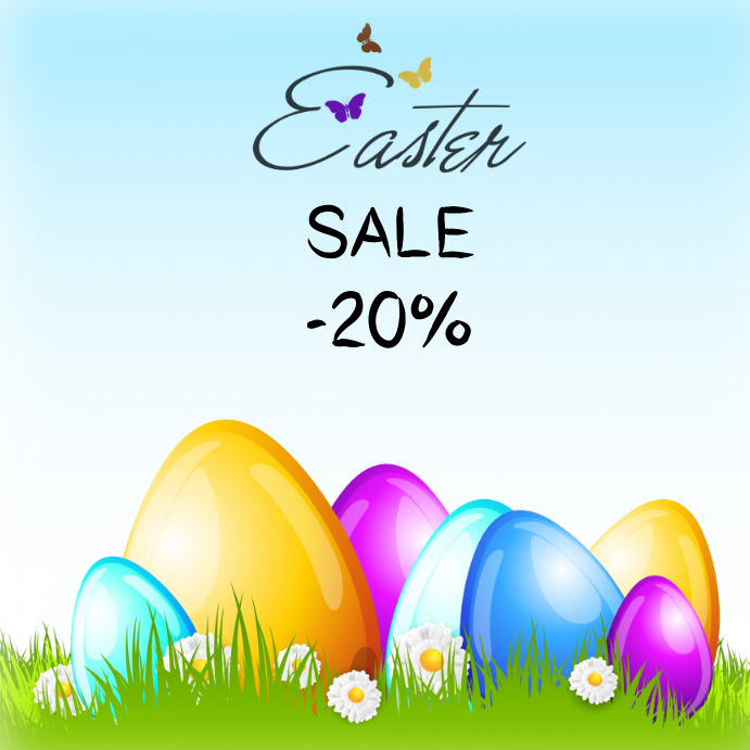 Easter Sale: Easter Sale Egg 20% Instagram Facebook Color Template
