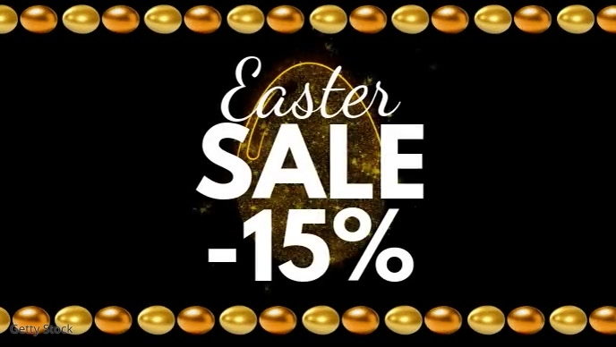Easter sale golden egg video header cover ad