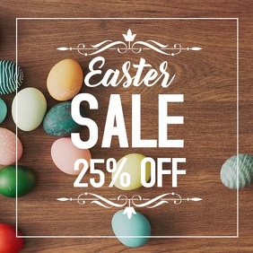 Easter sale square wood eggs marketing advert