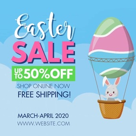 Easter Sale Toon Balloon Instagram Ad Carré (1:1) template