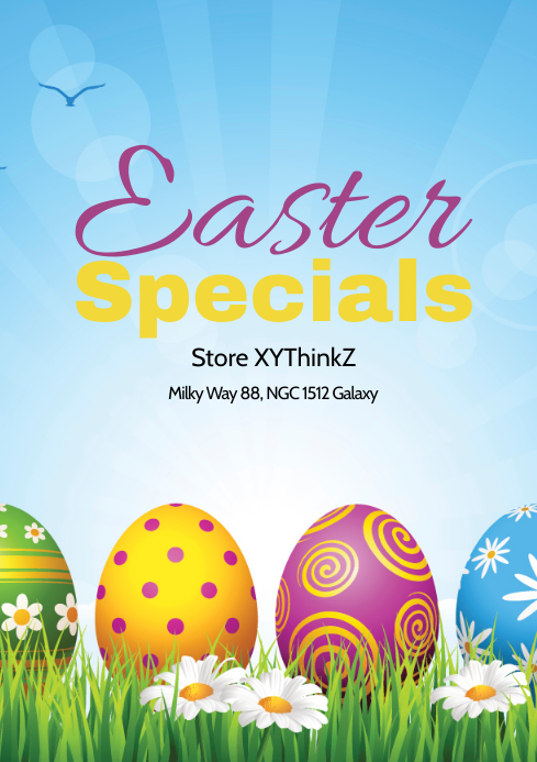 Easter Special Deal Flyer Poster Fashion Store Lawn Sun A4 template