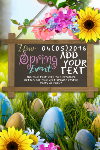 Easter Spring Flowers Eggs Hunt Chalk Board Wood Wall Shabby Chic Mustache Pastel Event Ad Invite