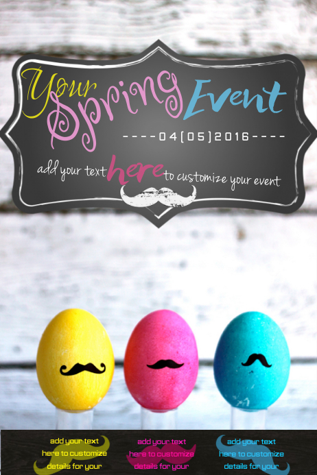 Easter Spring Neon Eggs Hunt Chalk Board Wood Wall Shabby Chic Mustache Pastel Event Ad Invite