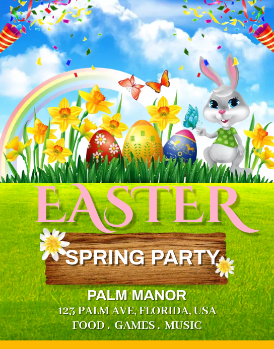 Easter Spring Party Poster/Wallboard template
