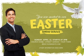 Easter Sunday Church Flyer Label template