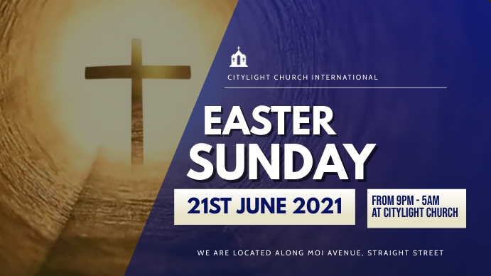 easter SUNDAY church flyer Pantalla Digital (16:9) template