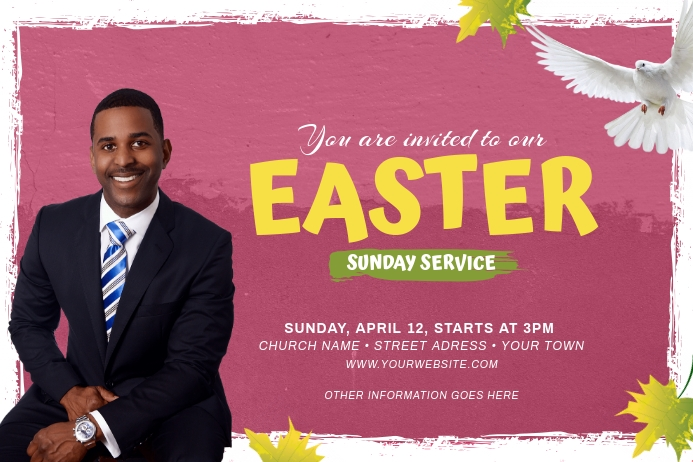 Easter Sunday Church Flyer Template ป้าย